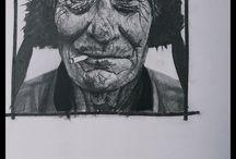 Benoit Gillet - Drawing - Dessin / Expressionniste et figuratif, mon travail associe ces deux courants et s'inscrit dans le neo-expressionisme. L'empreinte du monde du spectacle vivant dont je suis issu est évidente et clairement représentée. Passionné, je conçois ma démarche comme un acte qui se doit d'être engagé et suis particulièrement attiré par ce qu'un visage, un corps peuvent dégager.