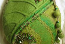Green felted bags