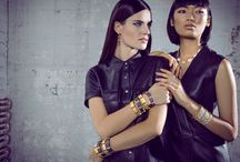 Freida Rothman Lookbook #1 / We were inspired by this gorgeous Frieda Rothmans shoot, and put together this board to show some ways to wear Rothman's pieces with simple yet stunning style. This jewelry pairs beautifully with dark, high-fashion outfits. Don't be afraid to accessorize- statement or metallic shoes can be a bold compliment.