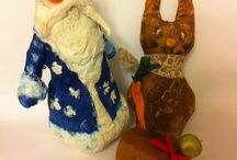 Ватная и чердачная техника / Дед мороз из ваты, зайка посыпан кофе и корицей ( сердечко как и заяц).