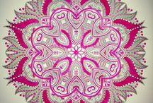 Kleuren voor volwassenen / Mandala tekening, kleuren voor volwassenen. Pink black and white. Coloring for adults