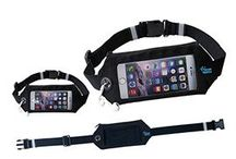 Tech Fitness Belt / See your running app or change songs with this running belt's smart phone window! Smart phone window allows phone access while running. Headphone slot allows easy access to music with phone still secured.