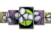 Vijf-luik Schilderijen / Prachtige Vijf-luik schilderijen geschilderd op canvasdoek met acrylverf