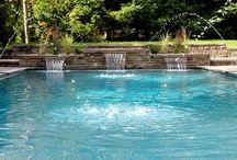 ":: Pool Inspiration :: / 15'x30' rectangular pool with a sunbathing platform, 3'-5' deep, three 18"" sheer descent fountains"