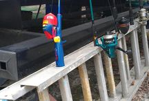 Space saving while Camping / My Dad came up with a great way and place to store our fishing poles while camping. Store poles upright in the ladder rung openings behind your campsite. Keeps them tangle free and easily accessible!