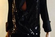 Vestito nero in paillette con camicia