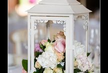 Wedding table lanterns with flowers