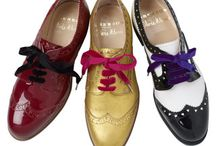 Olivia Morris x Grenson / We collaborated with Olivia Morris on reworking the traditional English brogue with a combination of a feminine twist for the ladies; heart-shaped cut-outs, pretty pink, gold and purple shades and violet, velvet laces for our autumn/winter 2009-10 collection.