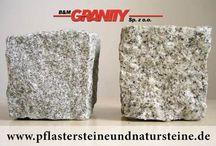 """Pflastersteine aus Granit - frostbeständig, Feinkorn und Mittelkorn (aus Polen) / B&M GRANITY – Frostbeständige Pflastersteine aus polnischem Granit – Körnung – """"Mittelkorn"""" oder """"Feinkorn"""". Unterschiedliche Varianten von Pflastersteinen, die man interessant verlegen und verbauen kann."""