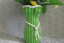 vázák, virágtartók - papírfonás