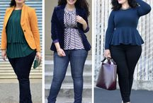Fashion | Plus Size / Lots of lovely plus size fashion ideas to be able to carry off fashionable feminine high street looks even when you're curvy and plus size.  Breton stripes, skinny jeans, mustard, a line skirts, so many different plus size fashion ideas.