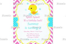Rubber Ducky Baby Duckling Pink Birthday / This collection features a cute baby duckling. The background consists of hot pink chevrons, a yellow border and a blue polka dot ribbon.
