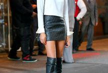 White blouse leather skirt