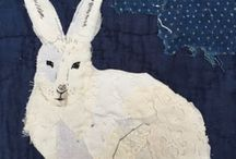 Hand stitched fabric collages
