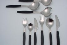 """Vintage Georg Jensen Stainless Steel Strata / The """"Strata"""" pattern of stainless steel flatware was designed by Henning Koppel in 1975 for Georg Jensen, and s one of the first colorful flatware patterns with being """"dishwasher safe"""" in mind. Browse our collection of fine vintage Strata flatware and other pieces."""