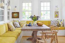 yazlık açık mutfakta salon döşeme dekorasyon