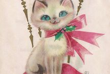 Vintage Christmas Cards with Cats / This board has images of vintage Christmas cards with cat motifs.