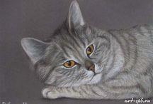 Art peinture russe féline / Chats
