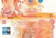 Billets Philippines / Le peso philippin est la monnaie de la république des Philippines. Les billets de banque Philippines en circulation sont : 20, 50, 100, 200, 500 et 1000 pesos. Le pays est constitué de 7.107 îles, ce qui en terme de nombre d'îles en fait une des archipels les plus grandes au monde, juste après l'Indonésie. Du fait de l'histoire très mouvementée du pays, la devise n'a jamais été très stable.