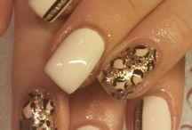 Nails art /  Gold gel nails..!