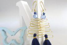 Tassel Earrings, Brass Wire Earrings, Blue Earrings, Tassel Jewelry,  Gold Wire Earrings, / Tassel Earrings, Brass Wire Earrings, Blue Earrings, Tassel Jewelry, Tribal Earrings, Gold Wire Earrings, Graduation Gift, Gift for Women