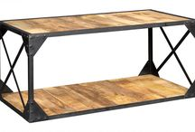 Ascot Industrial Furniture ~ Contemporary Vintage Warehouse Style / Hand-made in India from reclaimed metal and wood, this up-cycled contemporary warehouse style furniture features a strong, black metal, framework along with the natural beauty of solid re-cycled timbers.