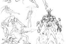 Позы, идеи для рисунков, аниме