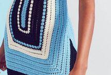 vestido de rectángulos azul