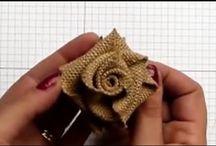 цветы из мешковины и ткани