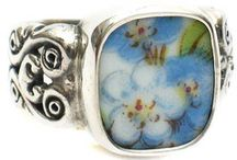 Broken China Sterling Rings / Beautiful rings created from pieces of china set in sterling silver.