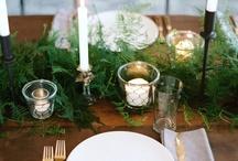 Oak dining table christmas setting