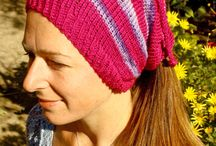 Knitted Ponytail hat  neck warmers