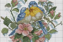 Křížková výšivka ptáčci