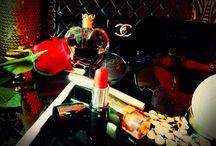 Glam jar / Chanel , make up, sun glasses, quilted leather dress, skater dress