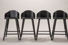 Counter Stools :: Tam / High benches with backrest and armrests.  Technical information Material: natural oak , black lacquer oak and tzalam.
