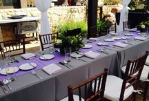Majestic Purple / www.felicievents.com Everything perfectly purple for your next event! From table linens, to lighting to balloons! Everything you could possibly need and more!
