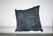 ДЖИНСОВЫЕ ПОДУШКИ / Подушки из джинсов ручной работы, каждая вещь по своему уникальна.