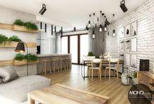 Przestrzenne mieszkanie w nowoczesnym klimacie / Projekt industrialnego mieszkania z otwartą przestrzenią. Surowy beton i metalowe elementy zdecydowaliśmy się ocieplić drewnem i białą cegłą, a domowego klimatu nadają designerskie dodatki :)