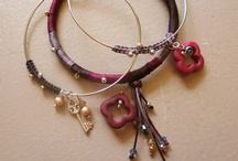 Bracelets / Handamde jewellery with fabric, leather, crystals, silver and passion