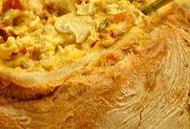 pão  recheado com farinheira cogumelos natas