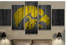 College Barn Wood Style Printed Canvases