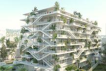 green terraced buildings