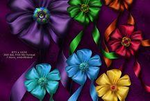 Канзаши / цветы из атласных ленточек