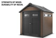 Keter Fusion Shed / Presenting our NEW line of WPC sheds. Made from Wood-Plastic Composite material. Combines the strength of wood and durability of resin. The Best of Both Worlds!