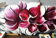quintique Fleurs Peinture acrylique sur toile