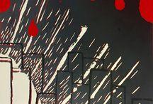 Alternatieve Filmposter 3-havo / Leerlingen maken een alternatieve filmposter door onderdelen van het verhaal te combineren in een nieuwe compositie. Het ontwerp zetten ze over op linoleum en drukken ze in drie kleuren af.
