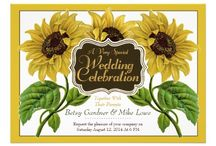 Sunflower Weddings / Sunflower Wedding Invitations Suite: Vintage and Botanicals are hot right now - order your invitations today!