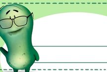 Etiquetas para libros de dibujos / Descargar e imprimir divertidas etiquetas con personajes de dibujos, personalizar libros