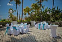 Beach Deck Venue Set Up / Tropical, Beach, Wedding, Destination, Bridal, Bouquet, Centerpiece, Decor, Setup, Boutonniere, Flower, Corsage, Ocean, Sunset, Aruba, Hyatt, Newlywed, Beach, Ideas, Deck, Venue, Location, Aruba