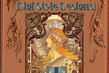 Digi Style Designs Create A Kit Art Nouveau / Small Kits, Cu, Pu, 1-4 Dollars, Same Color palette, Art Nouveau Theme